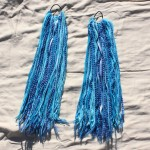 I traded for these fun and colorful blue hair falls that a friend made at barter faire a few years ago. Not sure when I'll have hair long enough to use them and I need room in my costume box, so I'll see if I can find them a home! $10 - Send me a message via the contact page to get my PayPal info for purchase. Thank you!